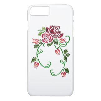 Capa iPhone 8 Plus/7 Plus Rosas de vidro gravados bonito