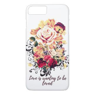 Capa iPhone 8 Plus/7 Plus Rosas e lilac. O amor está querendo ser amado