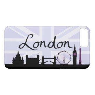 Capa iPhone 8 Plus/7 Plus Roteiro de Londres no céu de Union Jack & locais