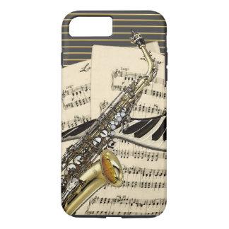 Capa iPhone 8 Plus/7 Plus Saxofone & música do piano