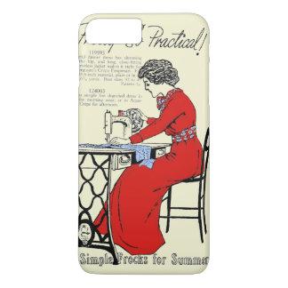Capa iPhone 8 Plus/7 Plus Senhora no vestido vermelho na máquina de costura