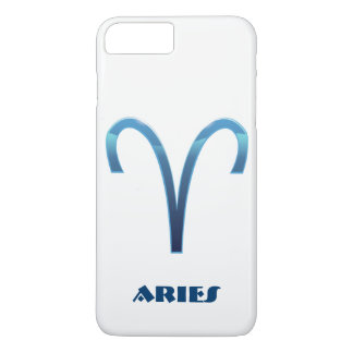 Capa iPhone 8 Plus/7 Plus Sinal azul do zodíaco do Aries no branco