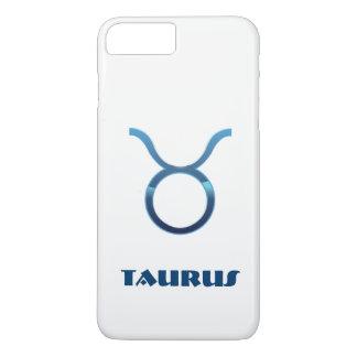 Capa iPhone 8 Plus/7 Plus Sinal azul do zodíaco do Taurus no branco
