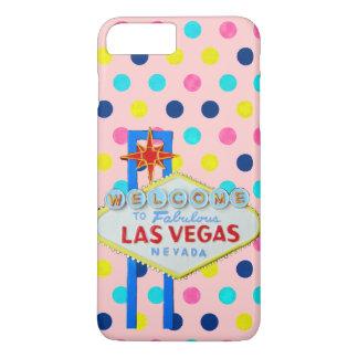 Capa iPhone 8 Plus/7 Plus Sinal de Las Vegas em pontos cor-de-rosa