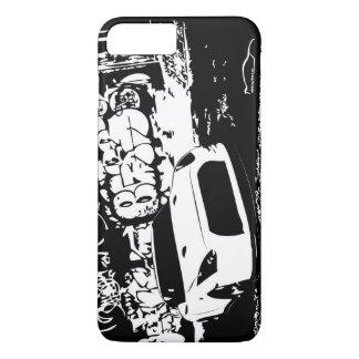 Capa iPhone 8 Plus/7 Plus Skyline de Nissan GTR com contexto dos grafites
