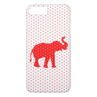 Capa iPhone 8 Plus/7 Plus Sonho vermelho afortunado do polkadot do elefante