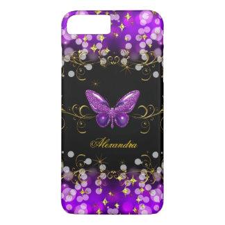 Capa iPhone 8 Plus/7 Plus Sparkles roxos exóticos da borboleta do preto do