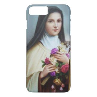 Capa iPhone 8 Plus/7 Plus St. Therese o crucifixo pequeno dos rosas da flor