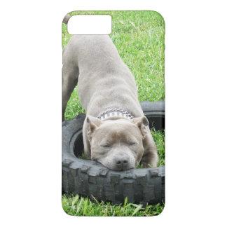 Capa iPhone 8 Plus/7 Plus Staffy masculino novo que joga com seu pneumático,