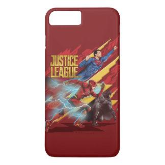 Capa iPhone 8 Plus/7 Plus Superman da liga de justiça  , flash, & crachá de