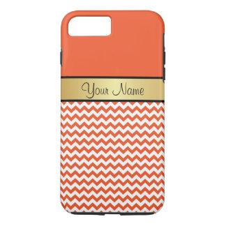 Capa iPhone 8 Plus/7 Plus Tango Chevron branco alaranjado da tangerina do