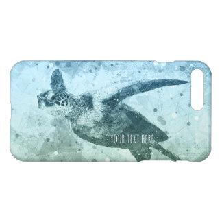 Capa iPhone 8 Plus/7 Plus Tartaruga de mar verde geométrica do vôo