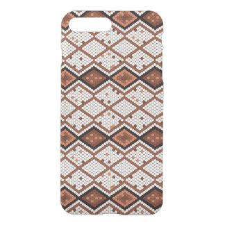 Capa iPhone 8 Plus/7 Plus Teste padrão abstrato da Cobra-Pele em Brown & em