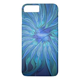 Capa iPhone 8 Plus/7 Plus Teste padrão azul da fantasia da flor, arte