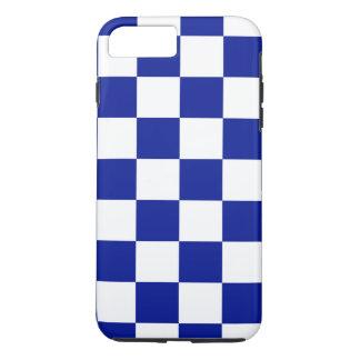 Capa iPhone 8 Plus/7 Plus Teste padrão Checkered do azul marinho e o branco