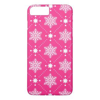 Capa iPhone 8 Plus/7 Plus Teste padrão cor-de-rosa e branco feminino do