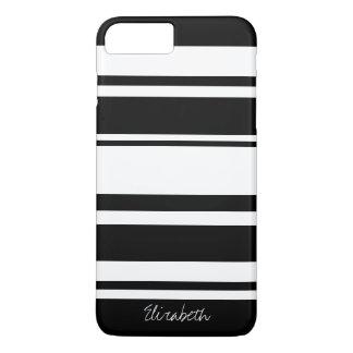 Capa iPhone 8 Plus/7 Plus Teste padrão corajoso da listra com nome - branco