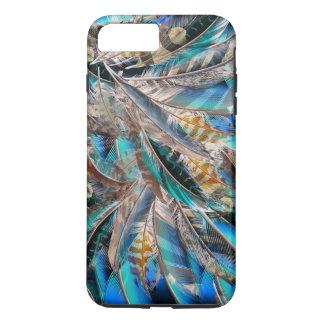 Capa iPhone 8 Plus/7 Plus Teste padrão da forma com penas azuis. Design na