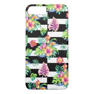 Capa iPhone 8 Plus/7 Plus Teste padrão de flores tropical & listras brancas