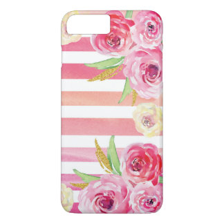 Capa iPhone 8 Plus/7 Plus Teste padrão floral da aguarela colorida