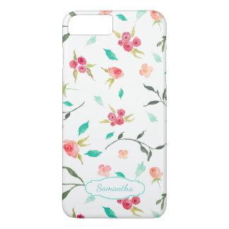 Capa iPhone 8 Plus/7 Plus Teste padrão floral da aguarela minúscula com nome