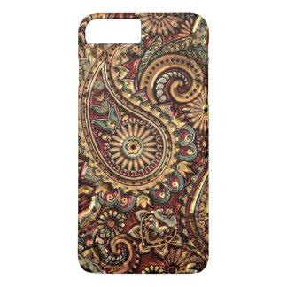 Capa iPhone 8 Plus/7 Plus Teste padrão floral de Paisley do ouro chique do