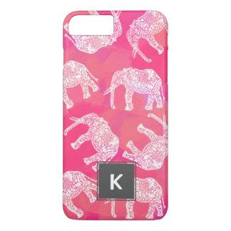 Capa iPhone 8 Plus/7 Plus teste padrão floral tribal colorido cor-de-rosa