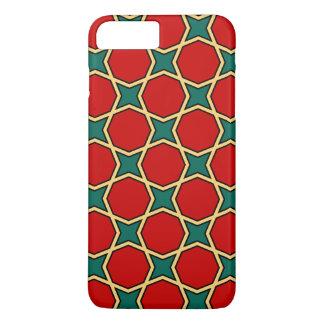 Capa iPhone 8 Plus/7 Plus Teste padrão geométrico árabe egípcio no vermelho