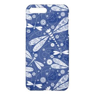 Capa iPhone 8 Plus/7 Plus Teste padrão sem emenda da libélula branca e azul