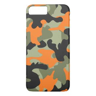 Capa iPhone 8 Plus/7 Plus Teste padrão verde alaranjado preto da camuflagem