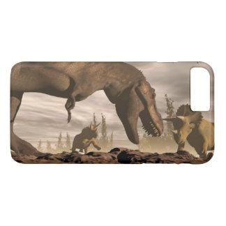 Capa iPhone 8 Plus/7 Plus Tiranossauro que ruje no triceratops - 3D rendem