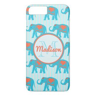 Capa iPhone 8 Plus/7 Plus Turquesa da cerceta, elefantes azuis no nome da