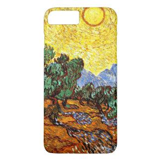 Capa iPhone 8 Plus/7 Plus Van Gogh - oliveiras com céu amarelo e Sun