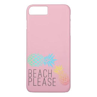 """Capa iPhone 8 Plus/7 Plus verão na moda """"praia por favor"""", abacaxi colorido"""