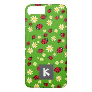 Capa iPhone 8 Plus/7 Plus verde bonito do teste padrão de flor do joaninha e