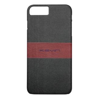 Capa iPhone 8 Plus/7 Plus Vermelho & couro costurado preto do vintage