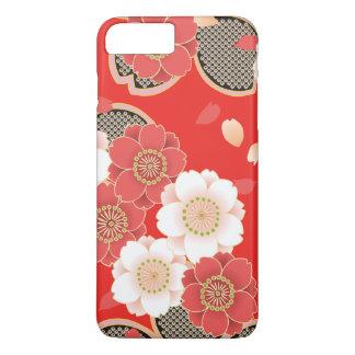 Capa iPhone 8 Plus/7 Plus Vetor branco vermelho floral retro do vintage