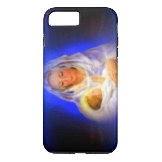 Capa iPhone 8 Plus/7 Plus Virgem Maria abençoada com halo nas nuvens