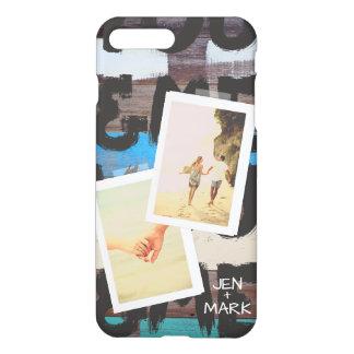 Capa iPhone 8 Plus/7 Plus Você & mim. Colagem da foto das memórias. Madeira