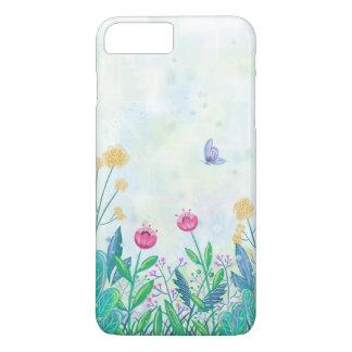 Capa iPhone 8 Plus/7 Plus watercolour iPhone7 da flor e da borboleta mais o