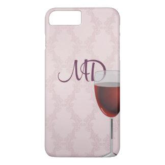 Capa iPhone 8 Plus/7 Plus wine e cora o damasco cor-de-rosa