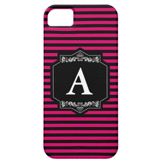 Capa iPhone SE + iPhone 5 Listras Pink Monograma
