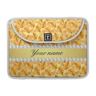Capa MacBook Pro A queda deixa diamantes de Bling da folha de ouro