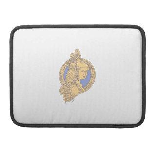 Capa MacBook Pro Athena com a coruja no círculo mono Li do circuito