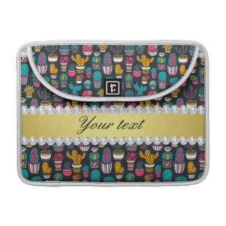 Capa MacBook Pro Diamantes coloridos de Bling do ouro do falso do
