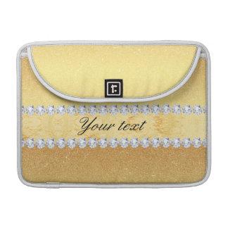 Capa MacBook Pro Folha e diamantes elegantes do brilho do ouro
