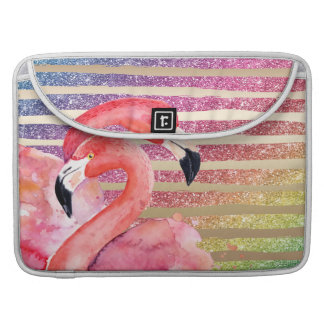 Capa MacBook Pro Listras do ouro do brilho dos flamingos da