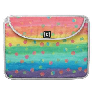 Capa MacBook Pro Listras e pontos coloridos da aguarela