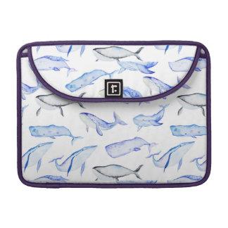Capa MacBook Pro Teste padrão da baleia azul da aguarela