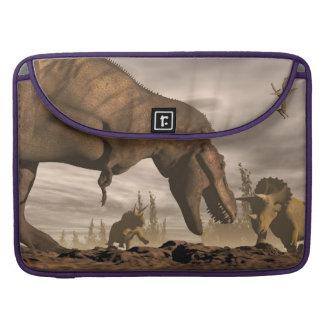 Capa MacBook Pro Tiranossauro que ruje no triceratops - 3D rendem